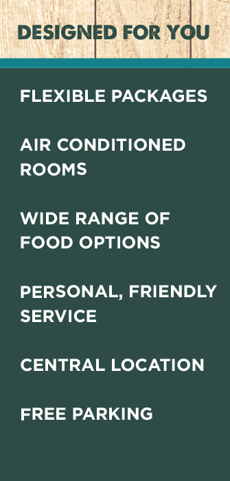 Conference Rooms, Designed for you, flexible packages, air conditioned, wide range of food options, personal friendly service, free parking and central conference location
