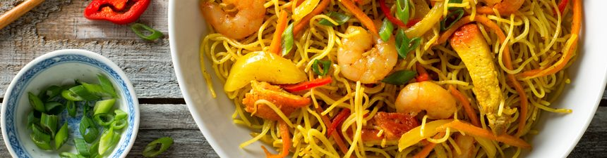 Singapore Noodles and Cauliflower
