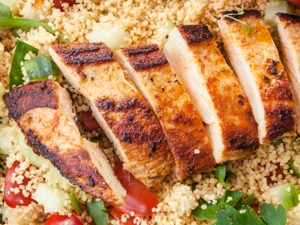 Pomegranate Chicken with Almond Couscous