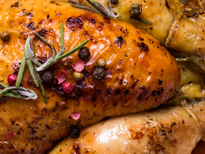 Lemon and Herb Roast Chicken with Crispy Root Vegetables