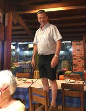 Simon stood on a chair
