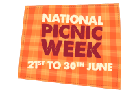national picnic week text on orange gingham background 21st-30th June