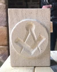 free mason symbol carved in limestone