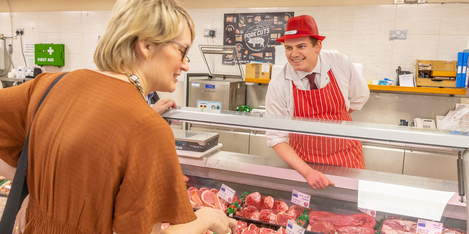 butchers - butcher serving from counter