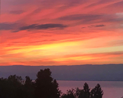 france - lake geneva sunset