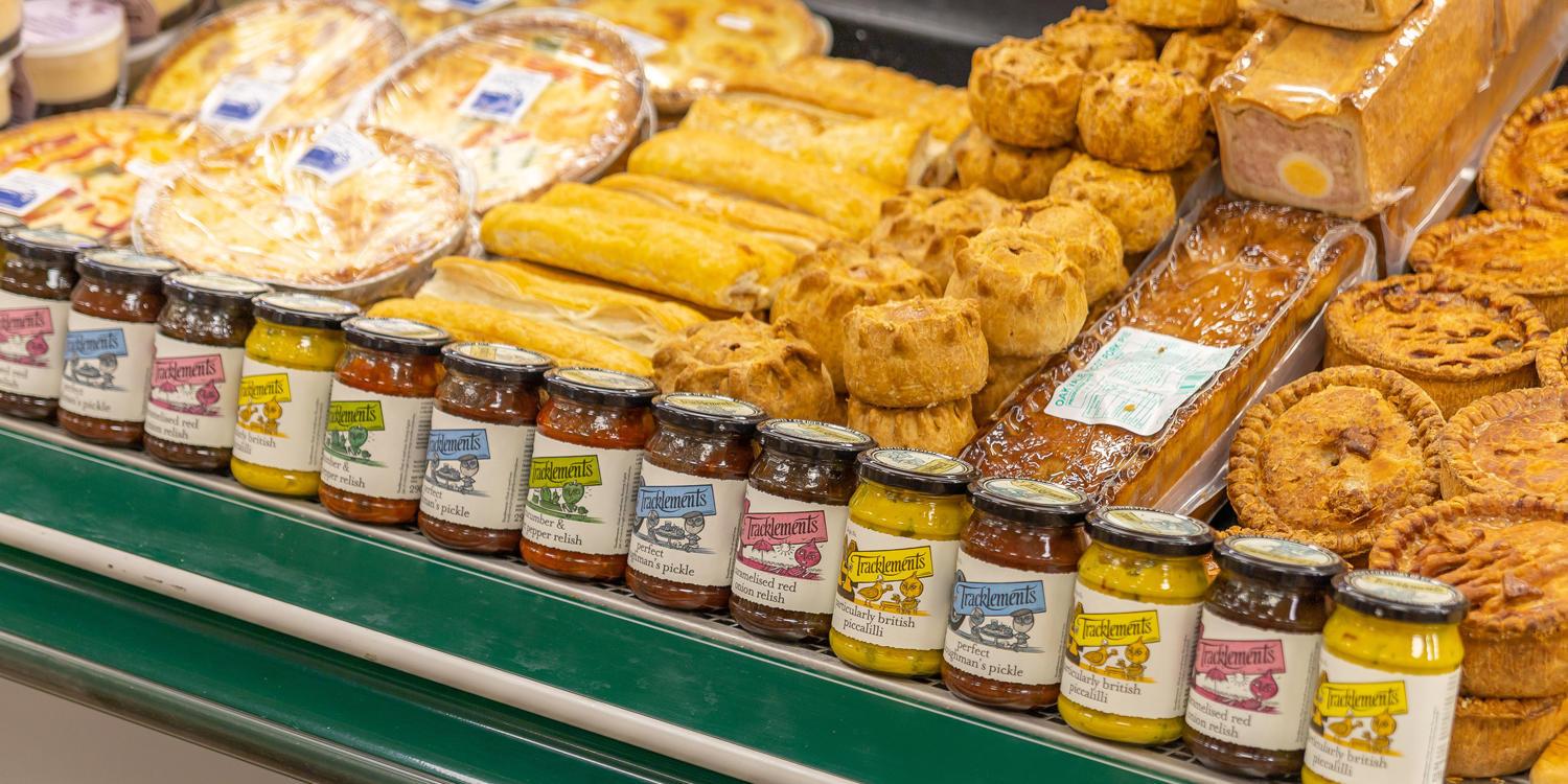 pies and chutneys on counter