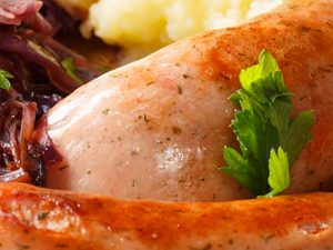Pork and Apple Sausages with Cider Braised Red Cabbage