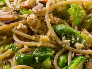 Brussels Sprouts and Smoked Ham Carbonara