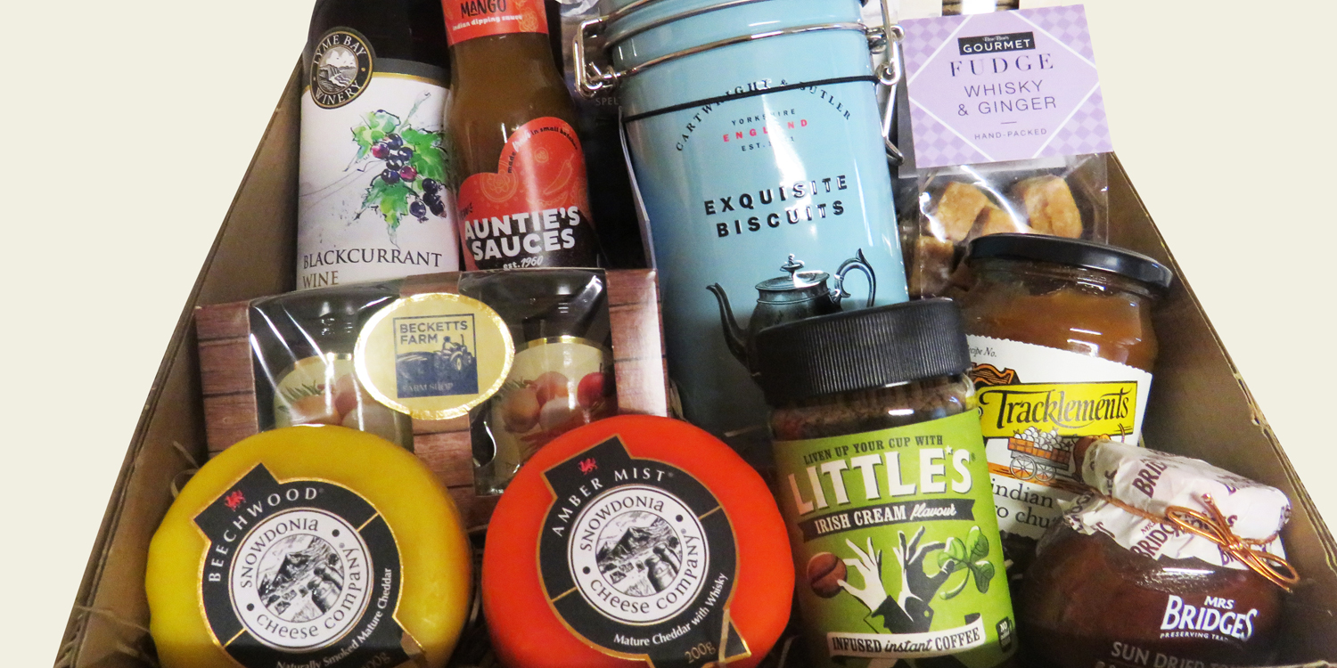 gift hampers with assorted items in box