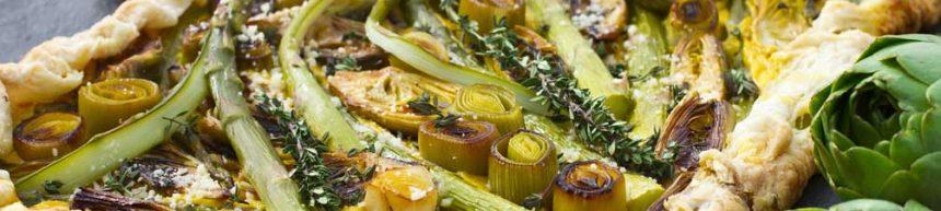 Leek, Artichoke and Asparagus Tart with Roasted Garlic