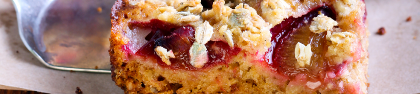 Plum and Almond Crumble Slice