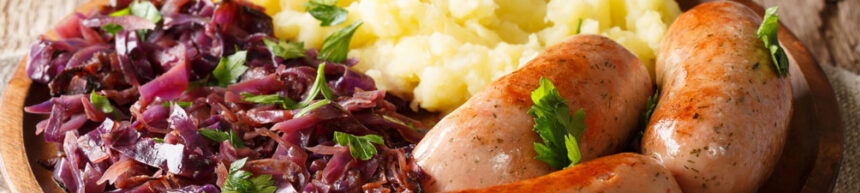Herby Sausages and Red Cabbage